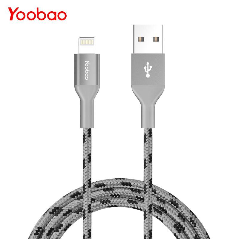 Yoobao YB-415 MFI 2.1A foudre Nylon 8 broches câble de téléphone portable câble de charge rapide câble de données USB pour iPhone 5 S 5 7 iPad