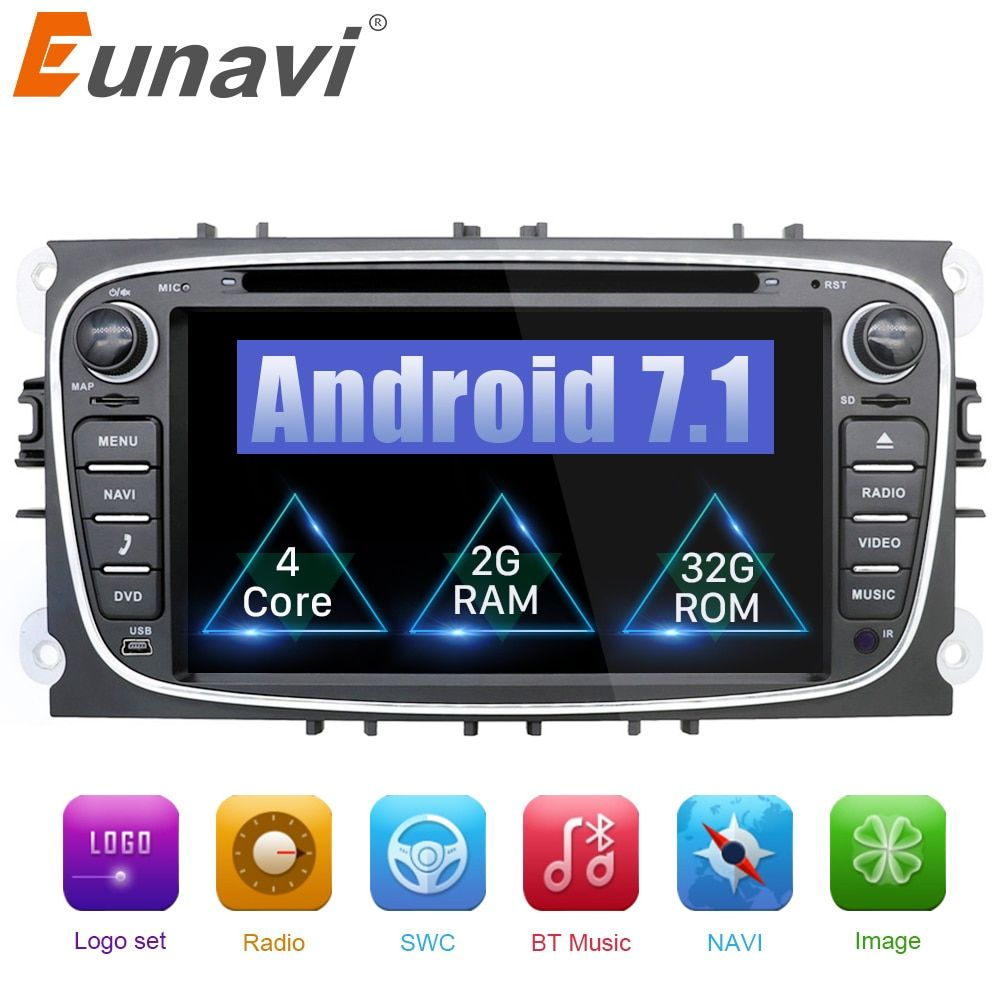 Eunavi 2 din Android 7.1 8.1 Quad Core Car DVD Player GPS Navi for Ford Focus Galaxy Audio Radio Stereo wifi Head Unit 1024*600