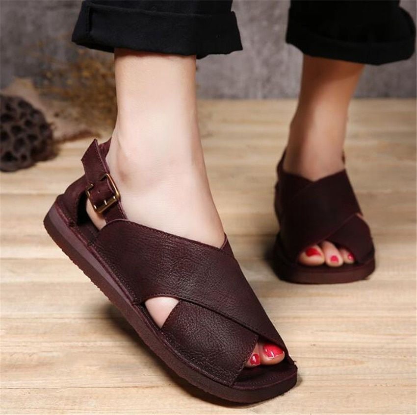 MLRCRIYG 2018 summer Leather fish mouth toes casual cross beach shoes flat sandals