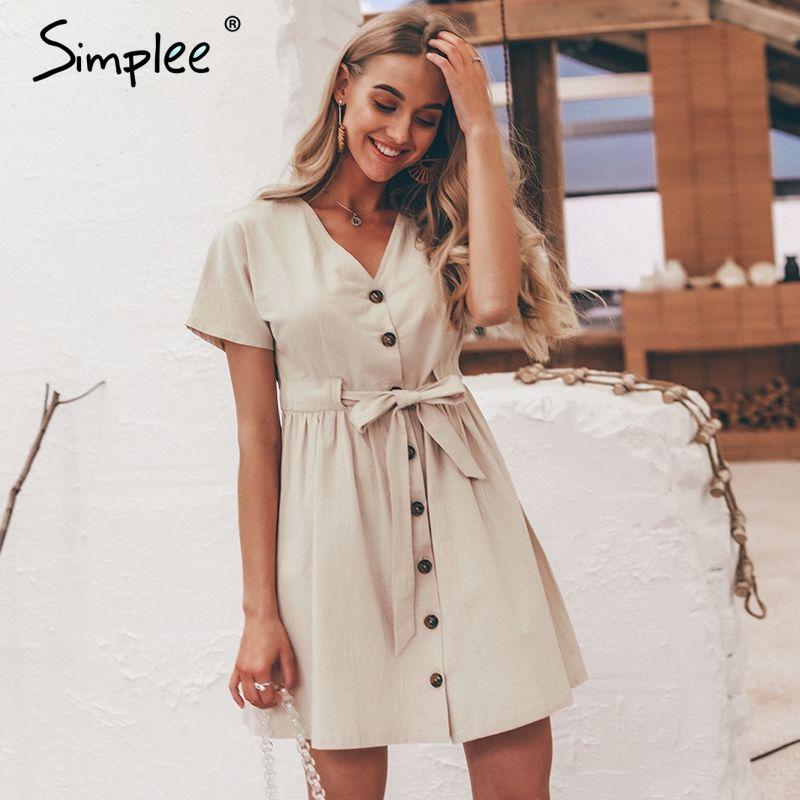 Simplee Vintage bouton femmes robe chemise col en V à manches courtes coton lin robes d'été décontracté casual coréen vestidos 2019 festa