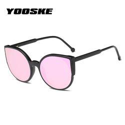 YOOSKE женские солнцезащитные очки с кошачьим глазом модное покрытие зеркало сексуальные кошачьи глаза солнцезащитные очки для женщин винтаж...