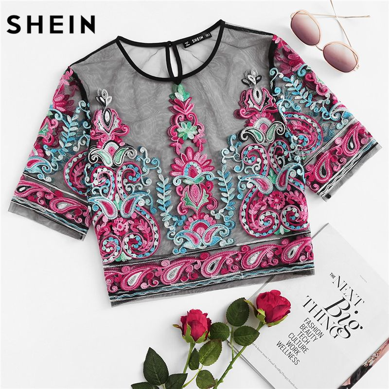 SHEIN Multicolor Womens Tops and Blouses Summer Short Sleeve Flower Embroidery Sheer Mesh Crop Top Sexy Women Blouses