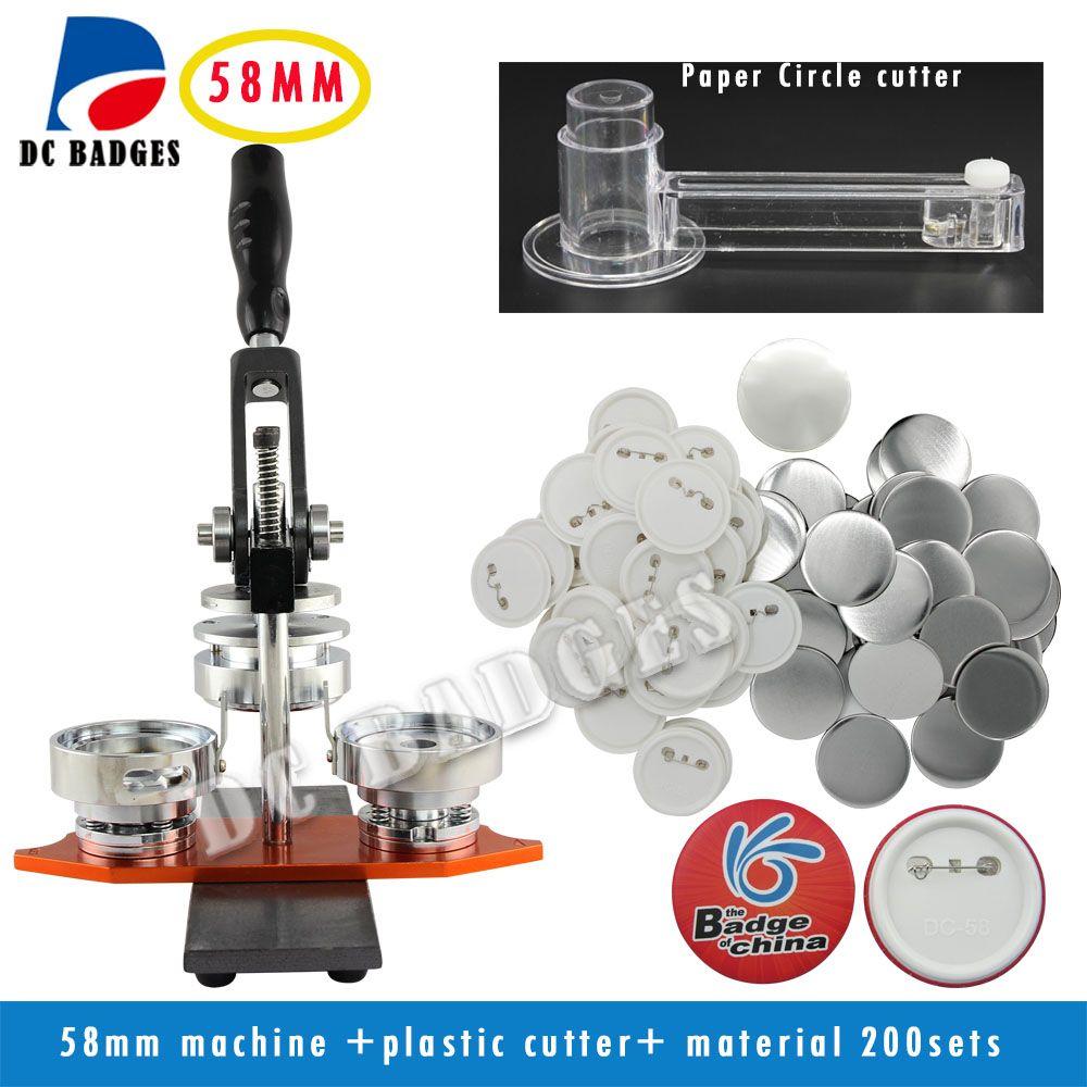 Heißer Verkauf Neue 58mm Dreh Abzeichen Button Maker Maschine + Einstellbare Kreisschneider + 200 Sätze Buttons Abzeichen Material liefert