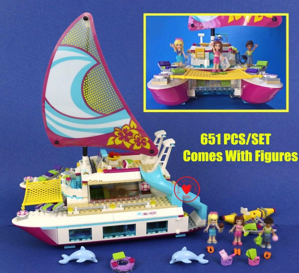 NEW Friends Sunshine Catamaran Dolphins Olivia Stephanie fit legoings friends figures model Building Block bricks 41317 kid girl
