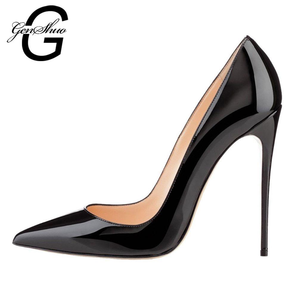 Femmes Pompes, haute Talons Chaussures 12 cm Noir Stiletto Bout Pointu Femme Chaussures Sexy Parti Chaussures Nude Talons pour les Femmes Plus La Taille 5-12