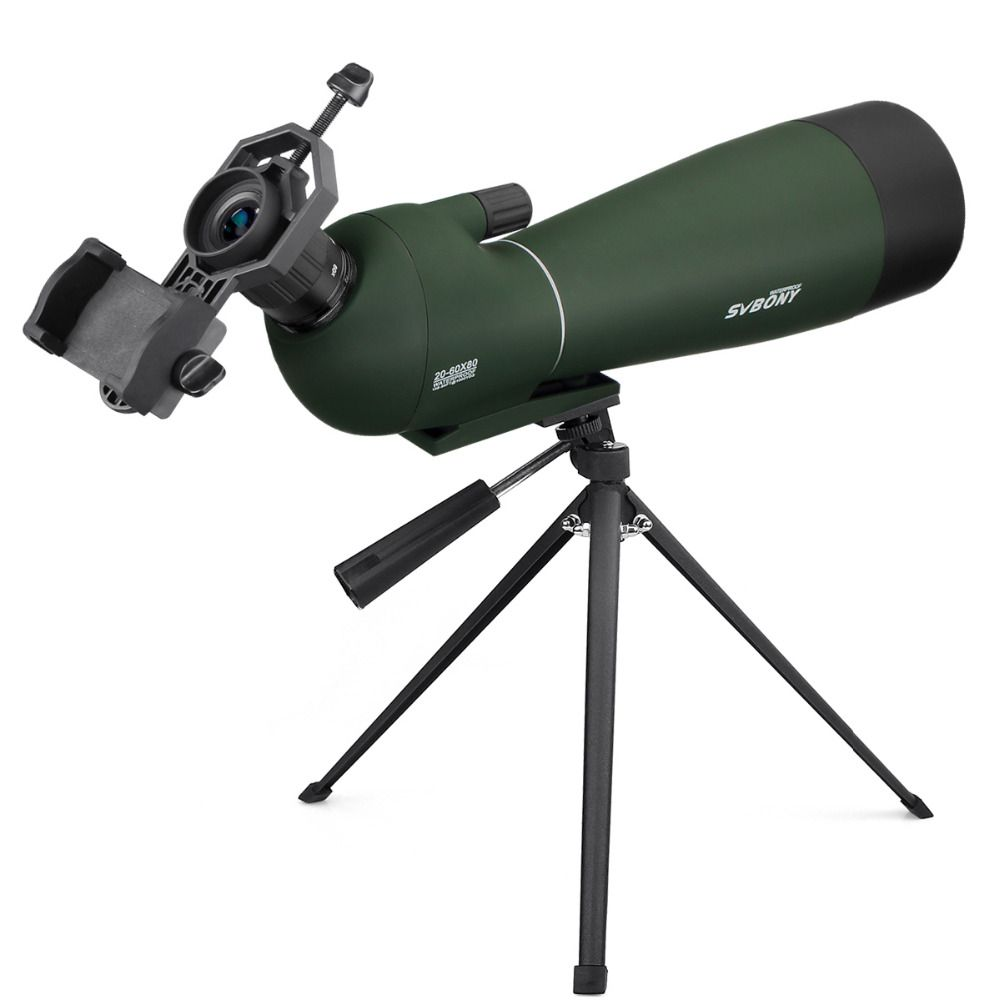 SVBONY Spotting Scope BAK4 20-60x80mm Zoom w/ Tripod Soft Case Birdwatch Monocular Telescope Waterproof + Adapter F9308