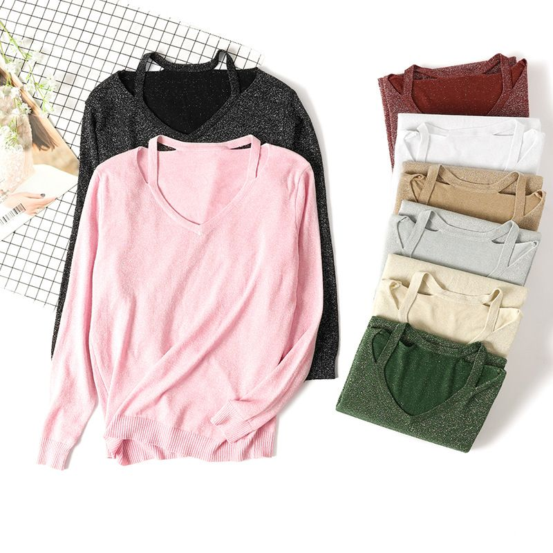 Shiny women sweater loose pullovers spaghetti strap sexy knitted tops long sleeve basic sweater 2018 new fashion korean styles