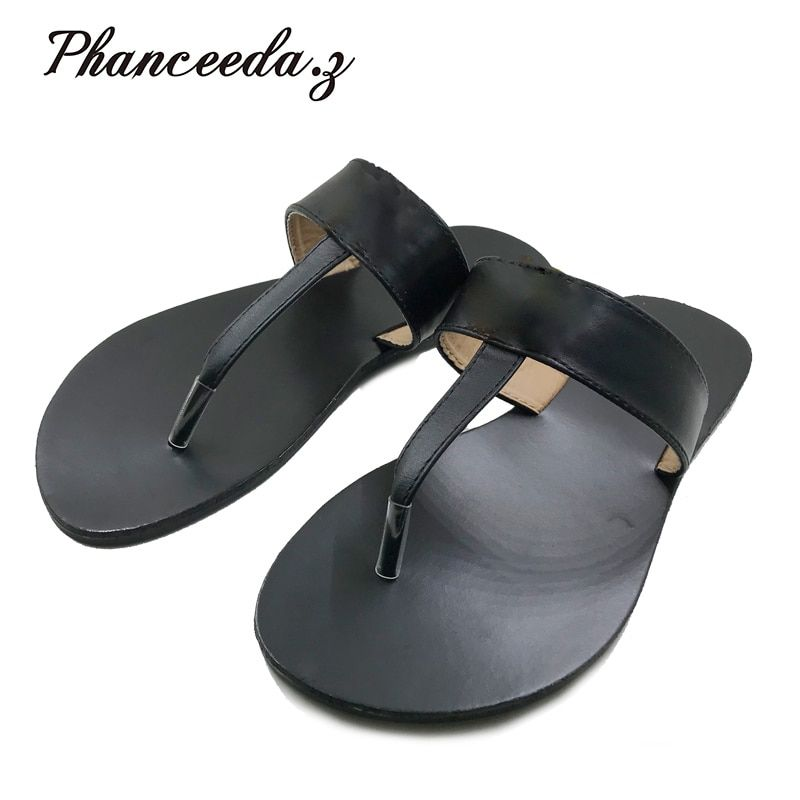 New 2018 Casual <font><b>Shoes</b></font> Women Sandals Summer Style Fashion Flip Flops T Quality Flats Solid Sandal Slippers Size 6-10