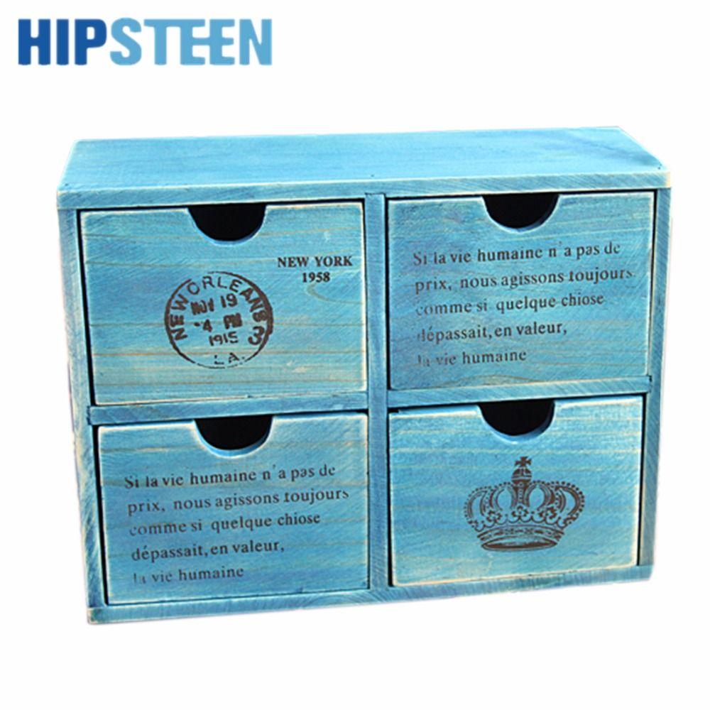 HIPSTEEN Retro Design Household Essentials 4-Drawer Wooden Storage Chest Cabinet / Jewelry Organizer New Zealand Pine - Yellow