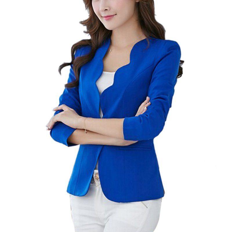 Весна ПР модные женские туфли Тонкий Блейзер Пальто Повседневная куртка с длинным рукавом One Button костюм для работы Пиджаки для женщин