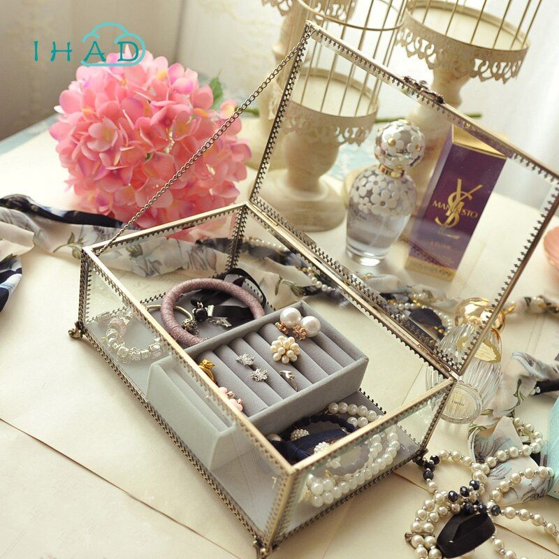 Retro Exquisite Glass Storage box Organizer Makeup Jewelry Ring Earring Storage casket Decorative dressing table