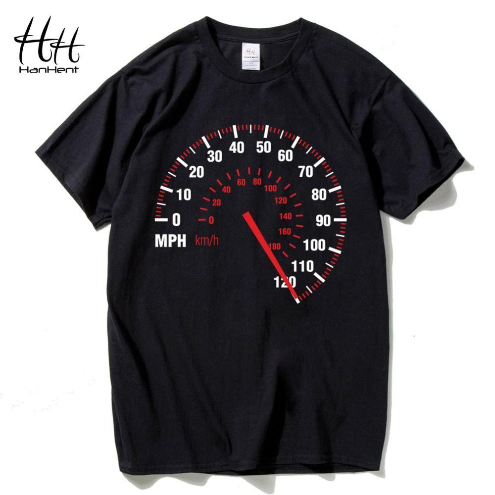 HanHent compteur de vitesse mode hommes T-shirt moto coton été voiture vitesse T-shirt Punk Rock noir T-shirt pour homme Fitness