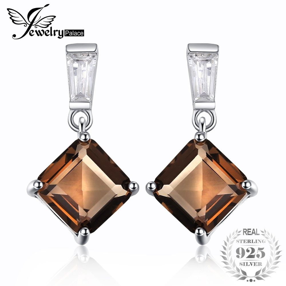 JewelryPalace Classic 4.8ct Square Natural Smoky Quartz Drop Earrings Real 925 Sterling Silver Women Earrings Brand Fine Jewelry