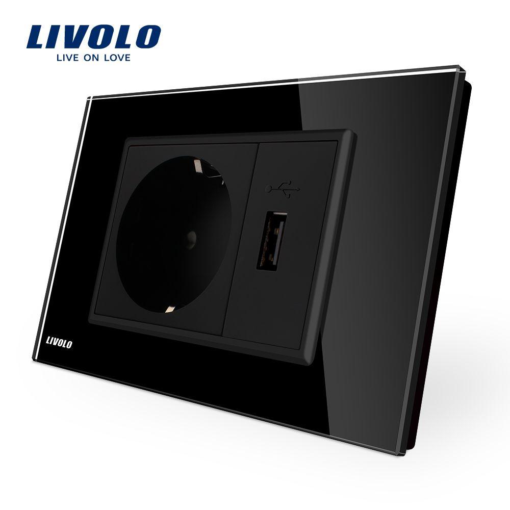 Livolo две банды ЕС гнездо и USB разъем, Черный Кристалл Стекло Панель, AC 110 ~ 250 В 16a стены Мощность гнездо, vl-c9c1eu1u-12