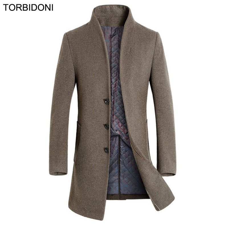 Overcoat for Men Wool Jacket Coat Winter Clothing 2017 Fashion Novelty Casual Boutique Party Wear Overcoat Autumn Long Outwear