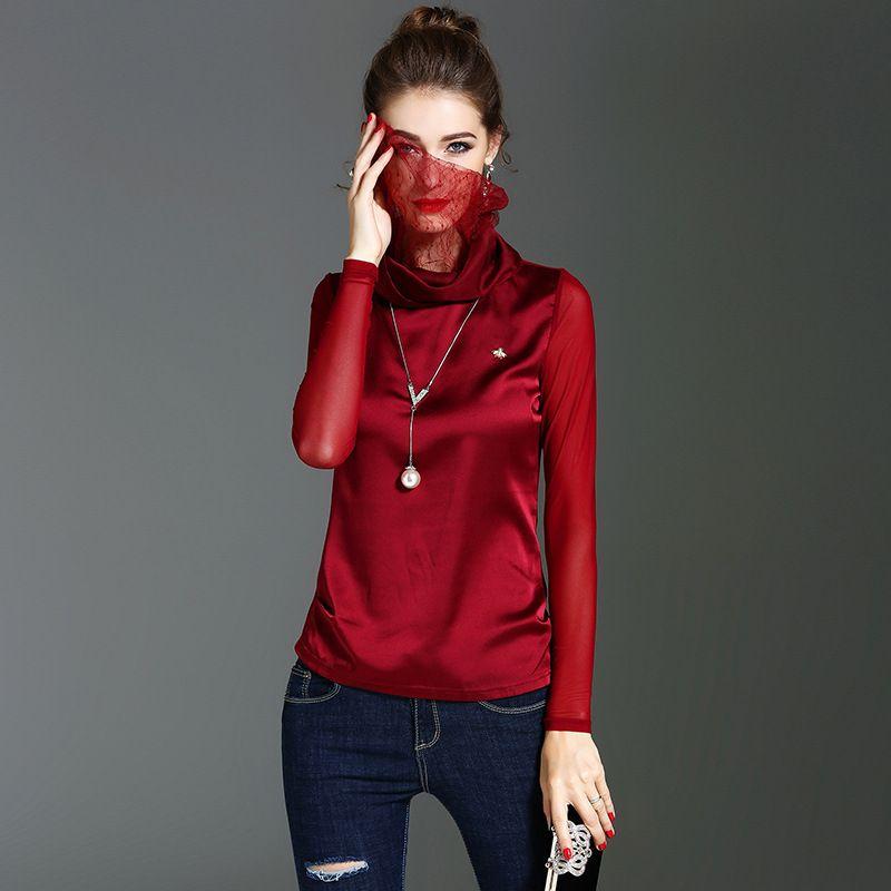 American New 2017 Womens Fashion Autumn Winter Turtleneck Slim Black Under Shirts Female Casual Plus Size Long Sleeve OL T Shirt