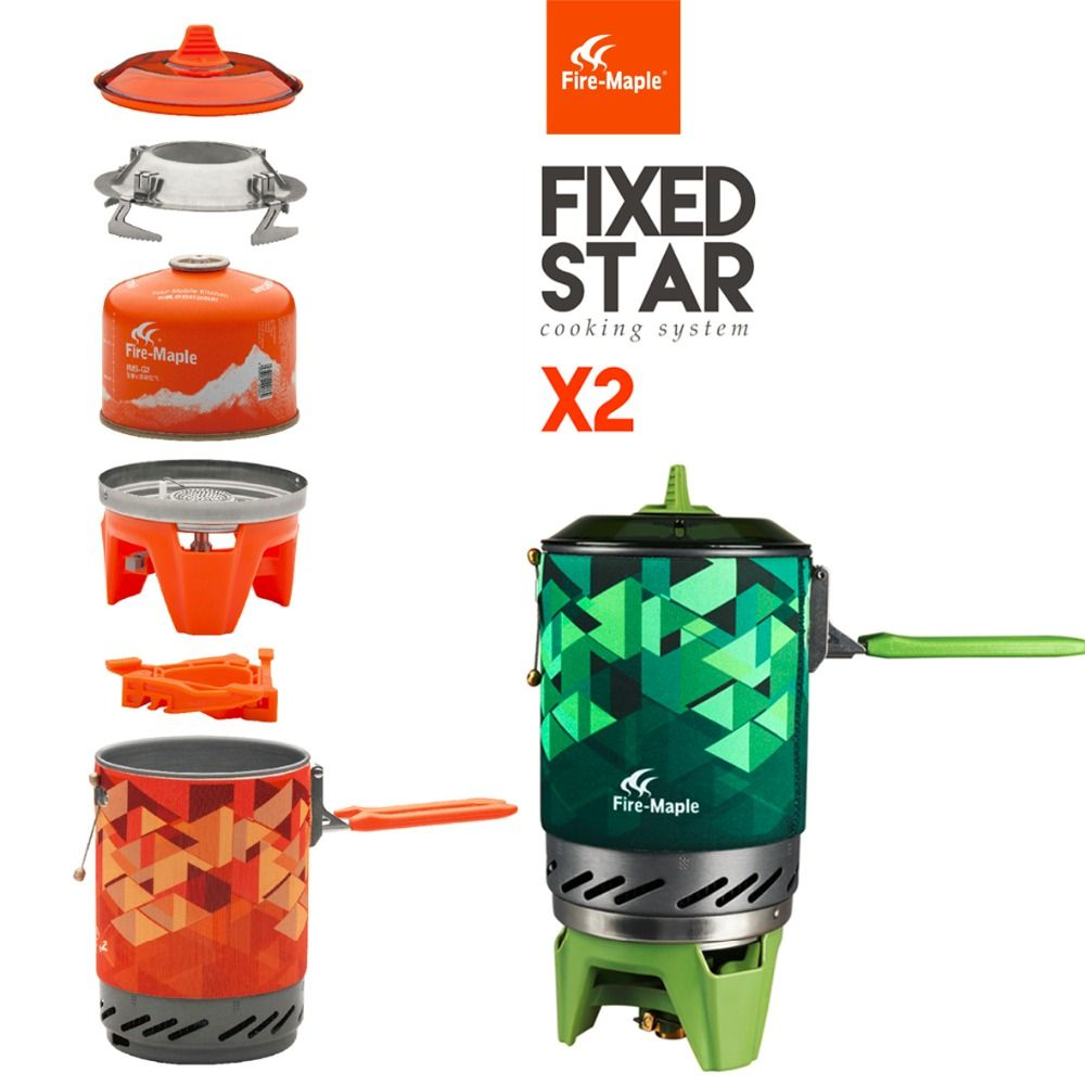 Fire Maple fms-x2 Compact One-Piece Camping Gas Stove Set Heat Exchanger Pot Flash Personal Cooking System X2 fast to Russia