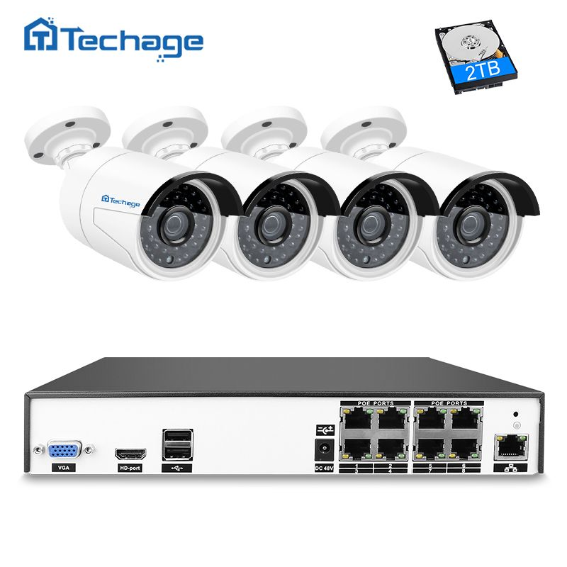 Techage H.265 8CH 4MP POE NVR CCTV System 4PCS Outdoor Waterproof PoE IP Camera P2P Cloud Onvif Email Alert Surveillance System