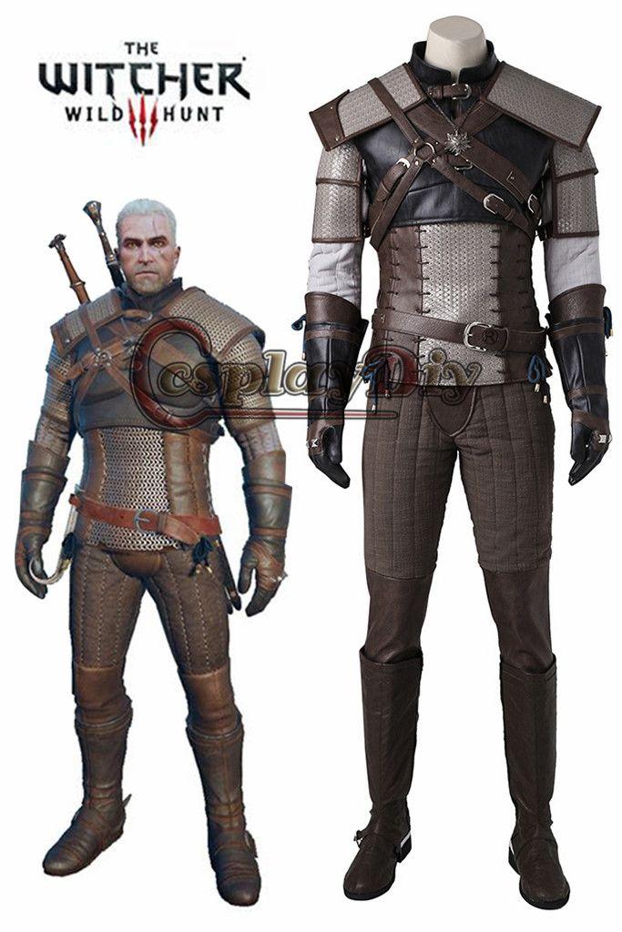 Cosplaydiy Die Witcher3 Wilden Jagd geralt von rivia Cosplay Kostüm Erwachsene Männer Halloween Cosplay Outfit Nach Maß J215