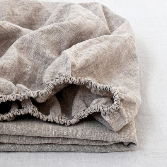 100% Linen Fitted Sheet <font><b>Stone</b></font> Washed Pure Linen 1Pcs For Twin Full Queen King Size