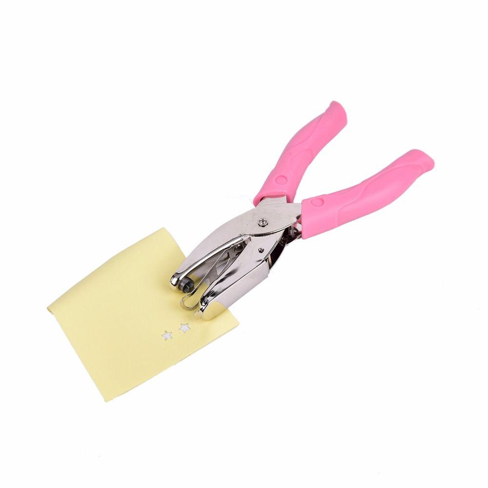 1 UNID Estrella Forma de mano Perforadora Perforadora De Papel Para Tarjetas De Felicitación Scrapbook Perforadora Portátil Herramienta de Mano Con Agarre rosa