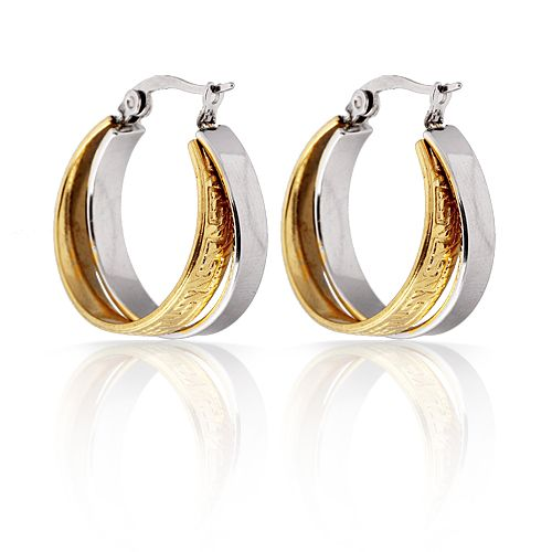Free Shipping Fashion Jewelry  Wave Carved Hoops Fixed at One End luxury earrings