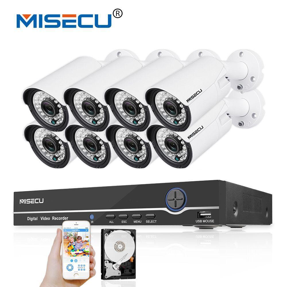 MISECU 48V 8CH 1080P POE NVR 1.0mp 48V PoE Camera Hi3518E HD P2P HDMI Metal Camera System Surveillance 24pc IR PC&Phone XMeye