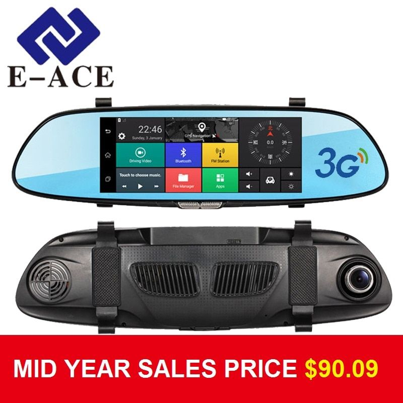 E-ACE 7.0 Inch Android GPS Car Dvr WIFI Bluetooth HD Video Recorder Auto Rear View Mirror Radar Detector Dashcam Dual Car Camera