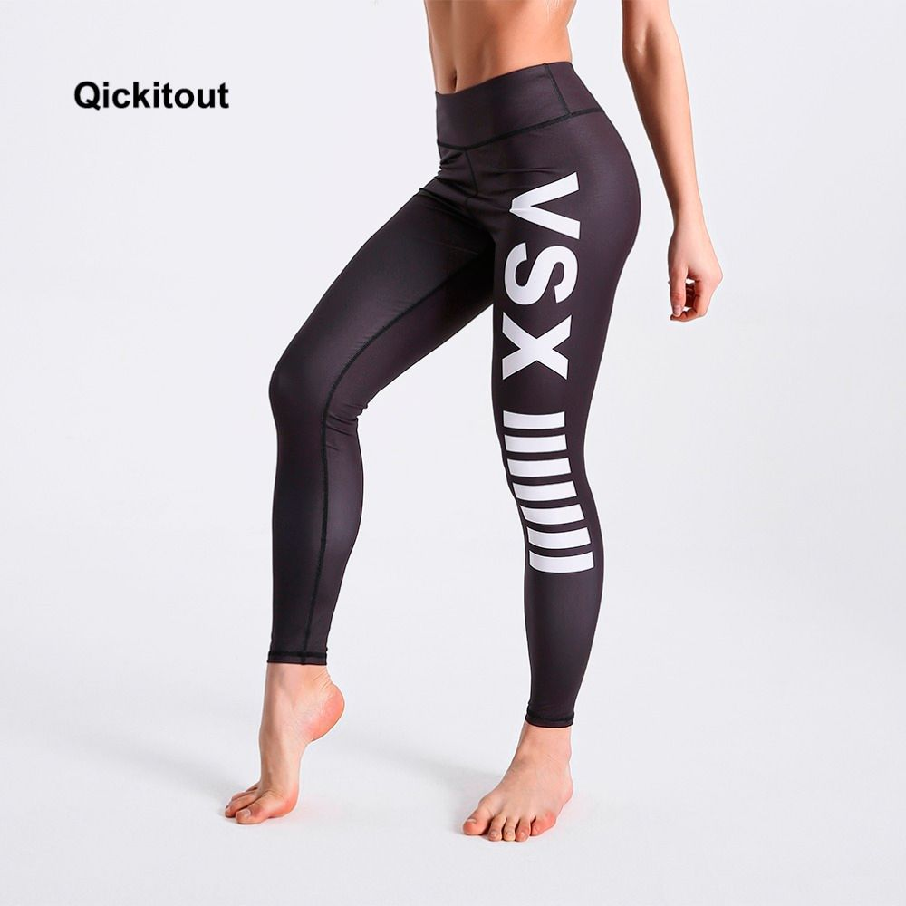Qickitout Women Summer Leggings Black Background White Letter Printed Leggings High Waist Long Pants Sexy Casual Pants
