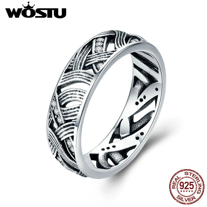 WOSTU Authentic 925 Sterling Silver Vintage Stackable Retro Wave Finger Rings for Women Solid Silver Jewelry Anel CQR253