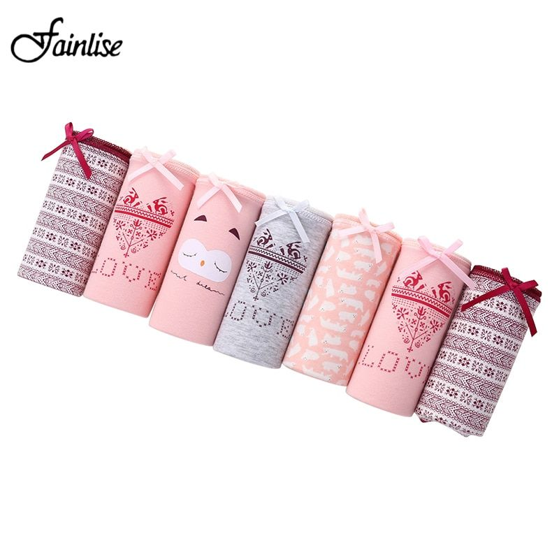 Fainlise Cotton 7PCS/lot Women's Panties Sexy Briefs Cotton Intimates Cute Printed Underpants Mid-Waist Underwear for Girls