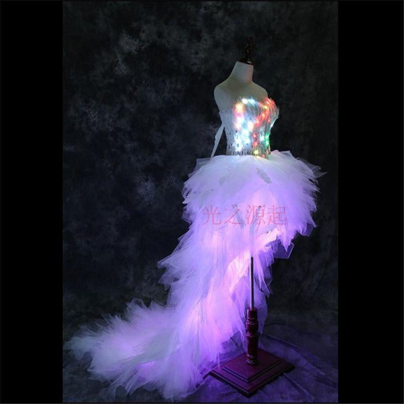 LZ11 Led leucht licht kostüme tänzerin kleider sänger sexy kleidung hochzeit kleidung bühne zeigen tragen bar nachtclub modell kleidung
