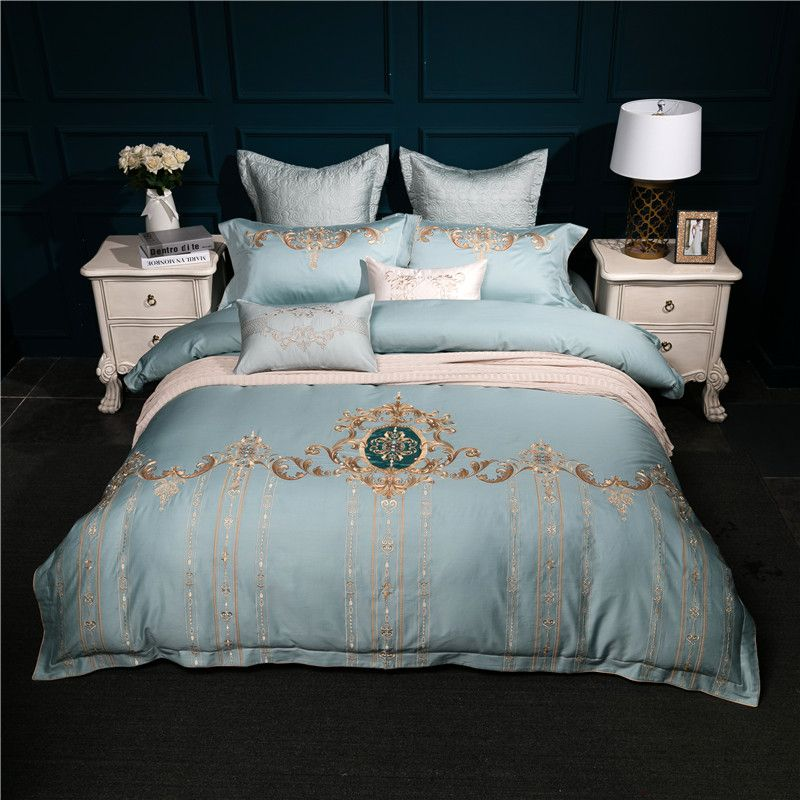 Bule Red Embroidery Royal Bedding set King Queen Size Egyptian Cotton Bed set Duvet cover bed sheet Pillowcases Home Decorative