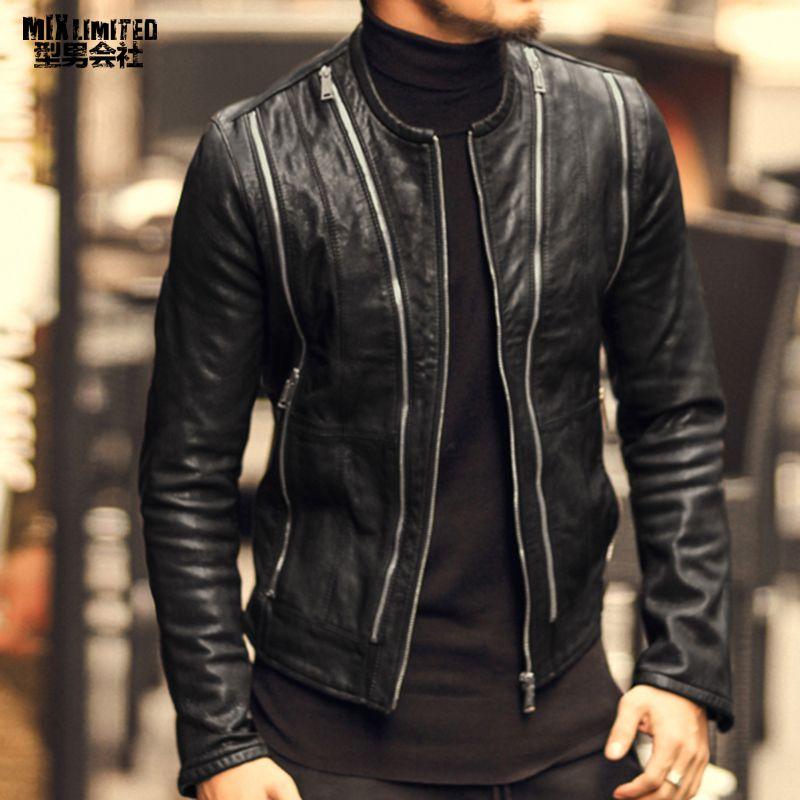2018 Men autumn fashion new multi zipper design slim leather jacket men's sheepskin motorcycle biker warm genuine leather jacket