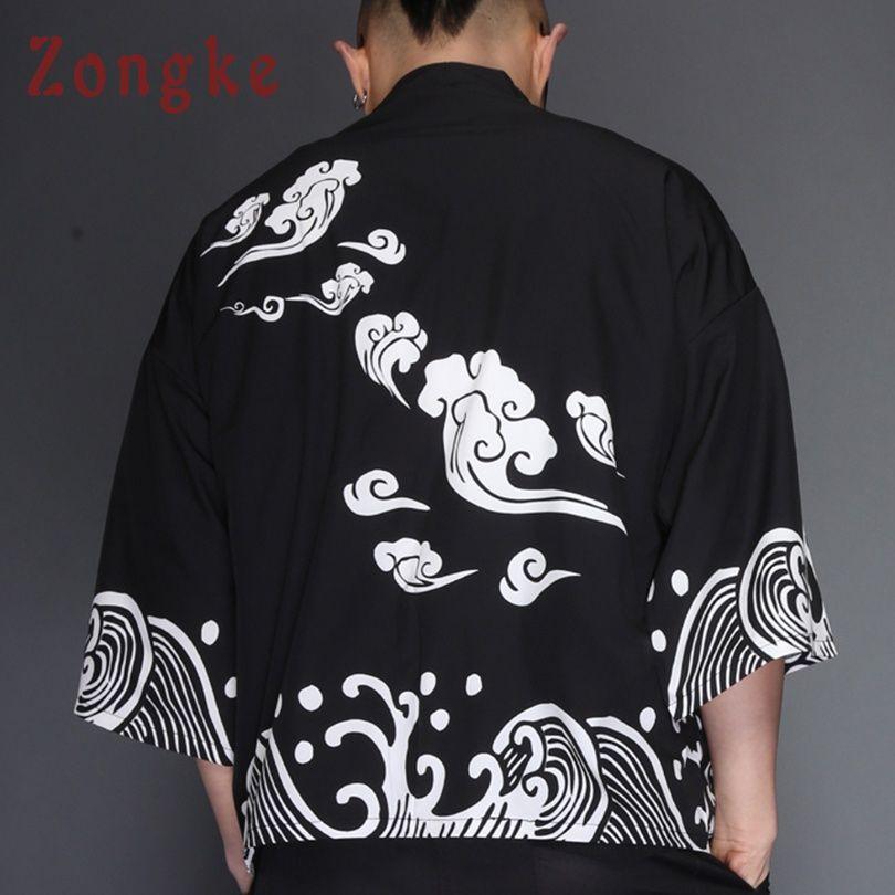 Zongke <font><b>Japanese</b></font> Kimono Cardigan Men Wave Print Summer Long Kimono Cardigan Men Black Kimono Cardigan Male Jacket Coat 2018