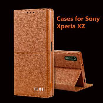 Lujo pu Cartera de cuero para Sony Xperia xz cubierta magnética del soporte del Tirón con ranuras para tarjetas teléfono bolso Carcasas para sony Xperia xz
