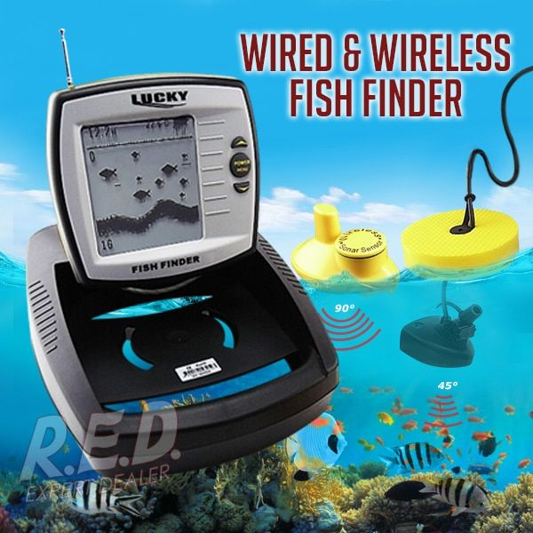 FF-918 LUCKY 2in1 Wireless Wired Fish Finder Adjustable Dot Matrix 100m Wired 40m Wireless Built-in Water Temperature Sensor