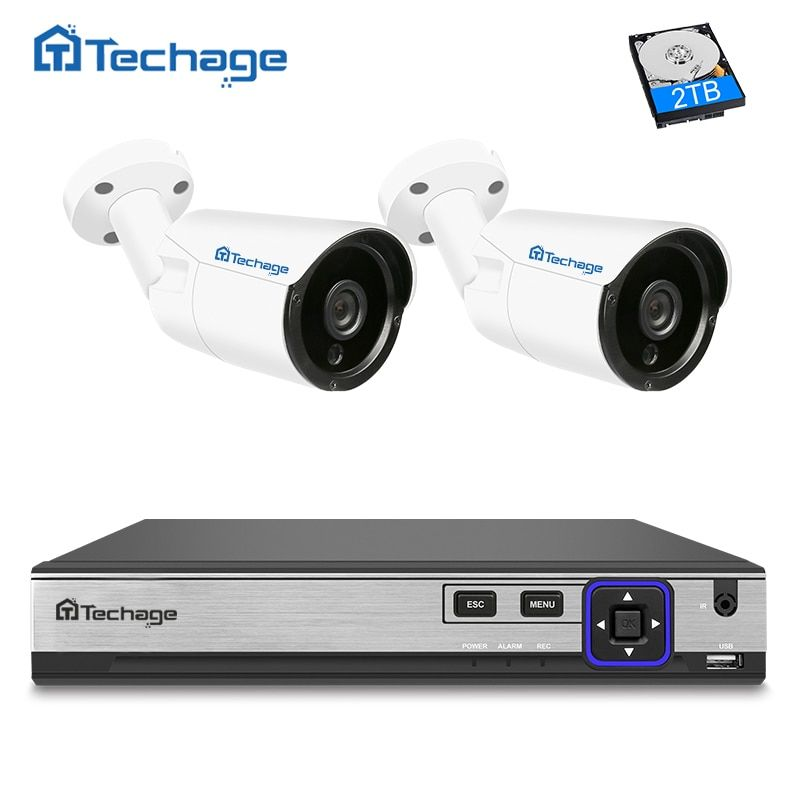 Techage 4CH 4MP NVR H.265 POE CCTV System 2PCS 4MP IP Camera IR Night Vision Onvif Outdoor Video Security Surveillance System