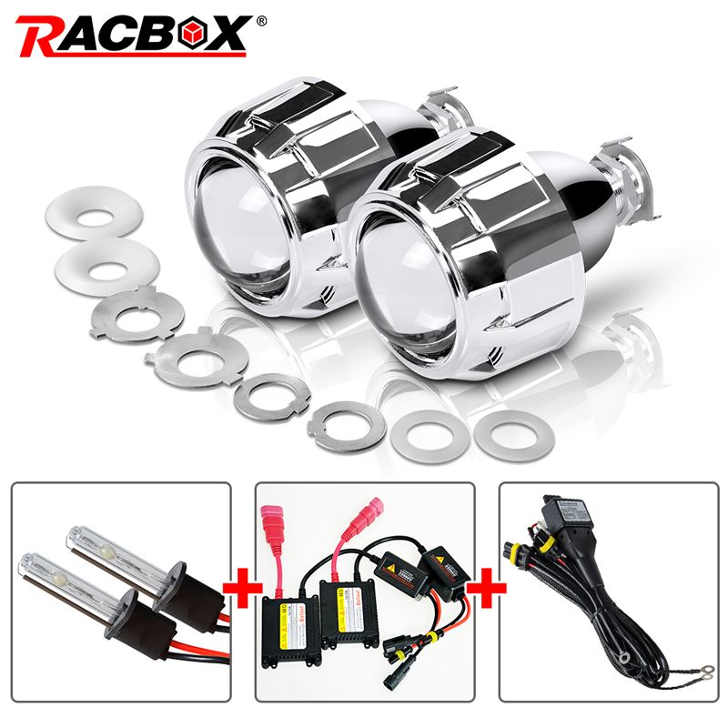 RACBOX 35W 2.5 Inch LHD RHD Bixenon HID Projector Lens With Shrouds H1 H4 H7 Motorcycle Auto Car Headlight Kit 4300K 6000K 8000K