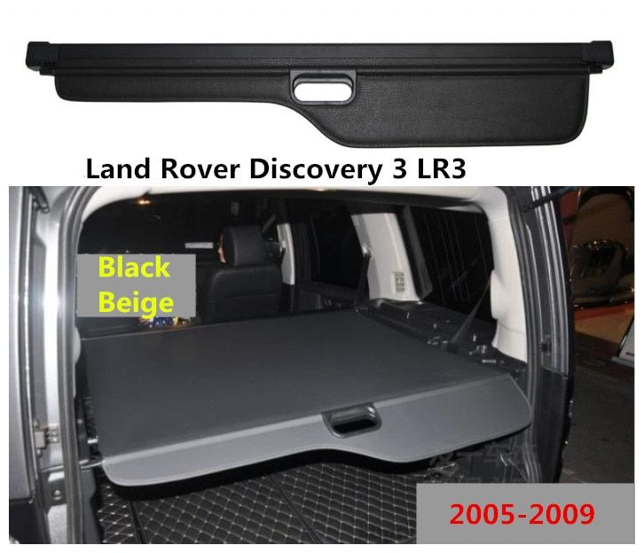 For Land Rover Discovery 3 LR3 2005-2009 Rear Trunk Security Shield Cargo Cover High Qualit Auto Accessories Black Beige