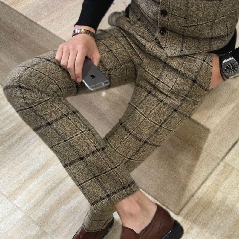 Perfume Masculino Costume <font><b>Pantalon</b></font> Homme 2018 Spring New Plus Size Elastic Dress Pants Korea Slim Fit Casual Men Suit Pants 5XL