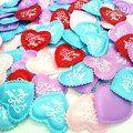 HL 100pcs Mix colors Padded Felt Love Heart Appliques Wedding Decoration DIY Sewing Crafts 35MM A316