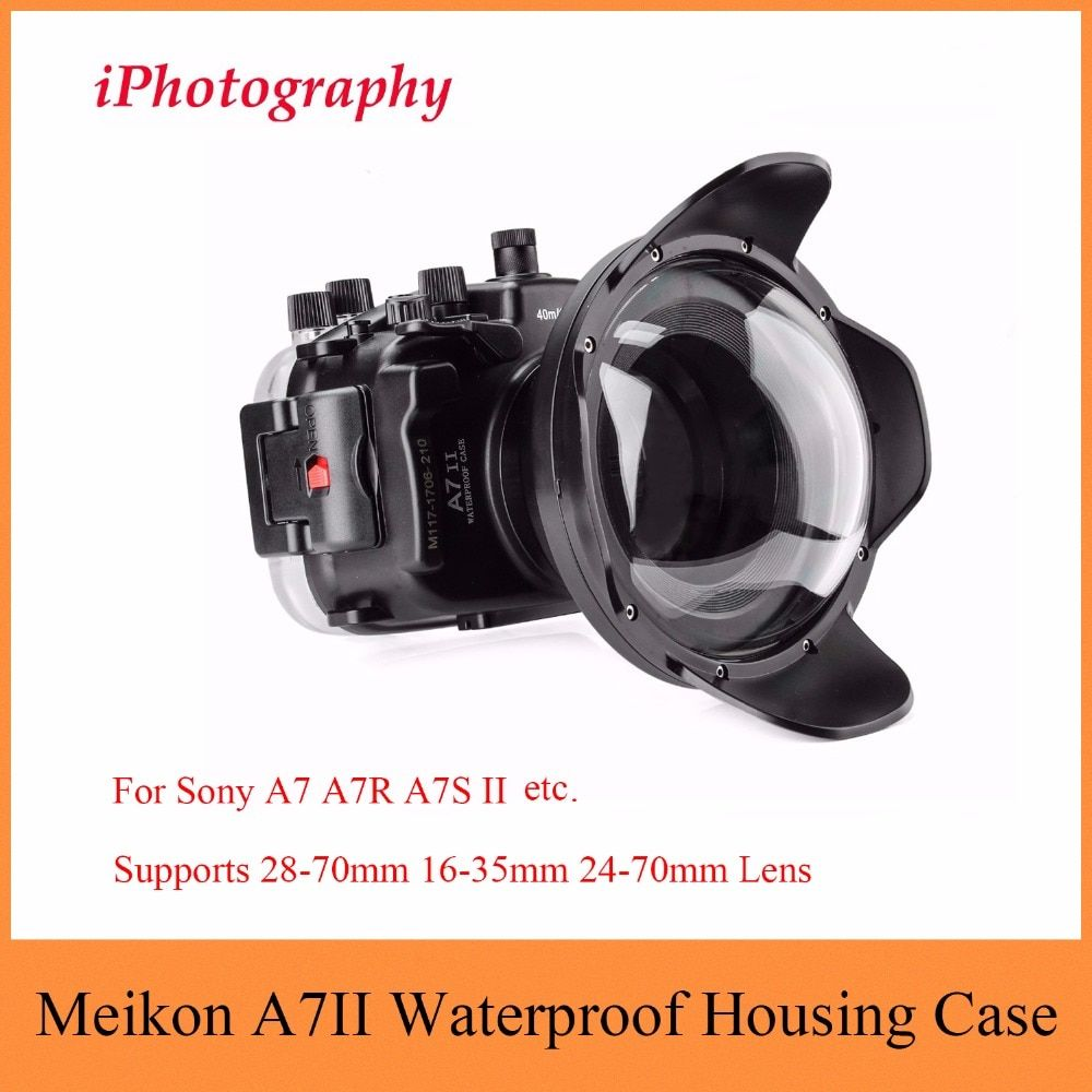 Meikon A7II A7R II 40M 130ft Waterproof Case For Sony A7 A7R A7S II with Dome Port Lens,Underwater Housing Case For Sony A7 A7R