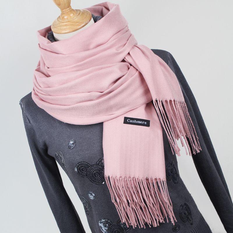 Femmes couleur unie foulards en cachemire avec pompon dame hiver épais chaud écharpe de haute qualité femelle châle vente chaude YR001