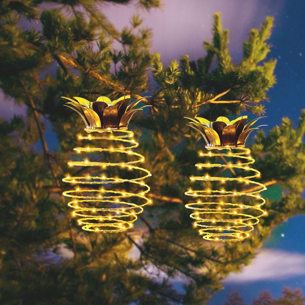 2 PCS Novelty Pineapple Solar lights Garden Path Hanging Lights Fairy String light LED Outdoor Waterproof lamp Street Yard Decor