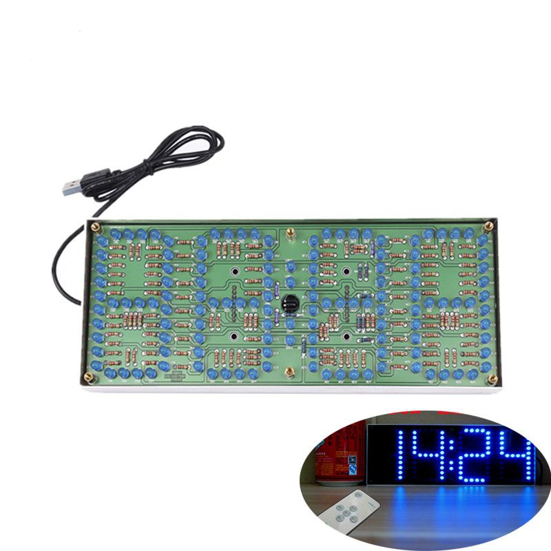 ECL-132 DIY Kit Blue Clock Screen Display Kits Electronic Suite With Patch Remote Control 132pcs 5mm LEDs Display Clock
