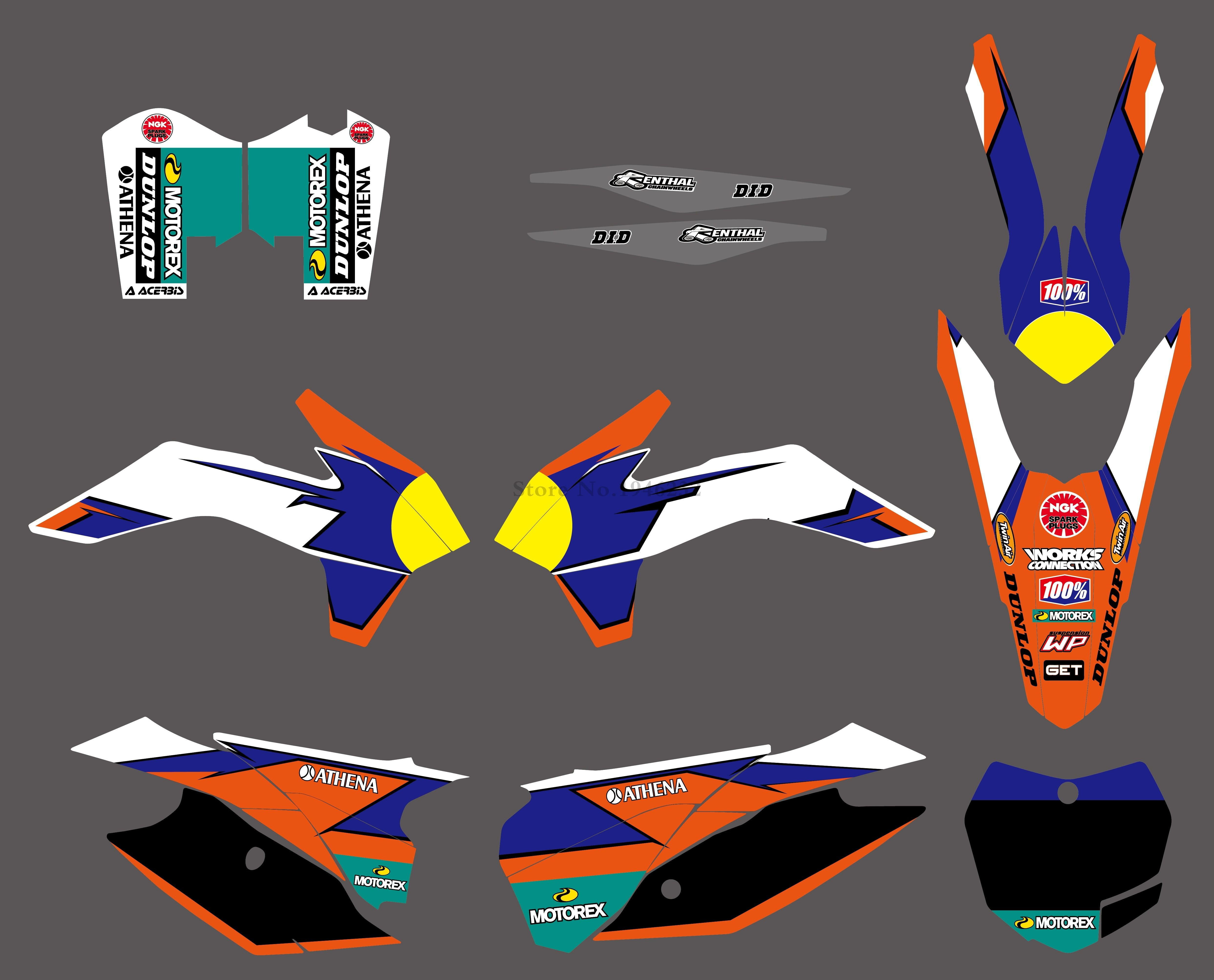 H2CNC NEW STYLE TEAM GRAPHICS DECALS STICKERS FOR KTM SX SXF XC XCF 125 200 250 300 350 450 2013 2014 2015