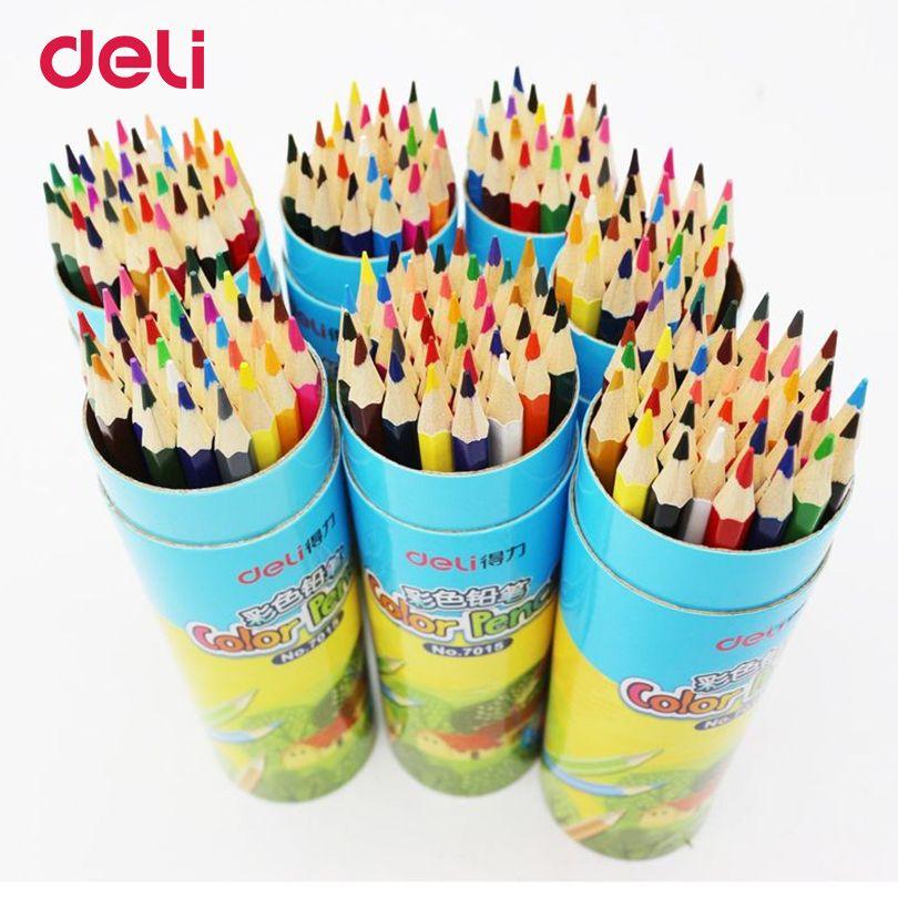 Deli jeu de crayon de couleur En Bois Peinture Coloré Crayons pour étudiant artiste dessin peinture fournitures 12/18/24/36 crayons de couleur