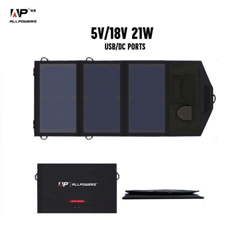 ALLPOWERS 18V 21W Solar Charger Panel Waterproof Foldable Solar Power Bank for 12v Car Battery Mobile Phone