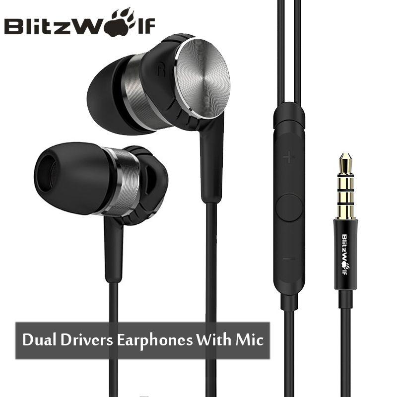 BlitzWolf hybride 3.5mm écouteurs avec Microphone téléphone écouteur filaire Sport dans l'oreille suppression de bruit écouteurs stéréo basse écouteurs